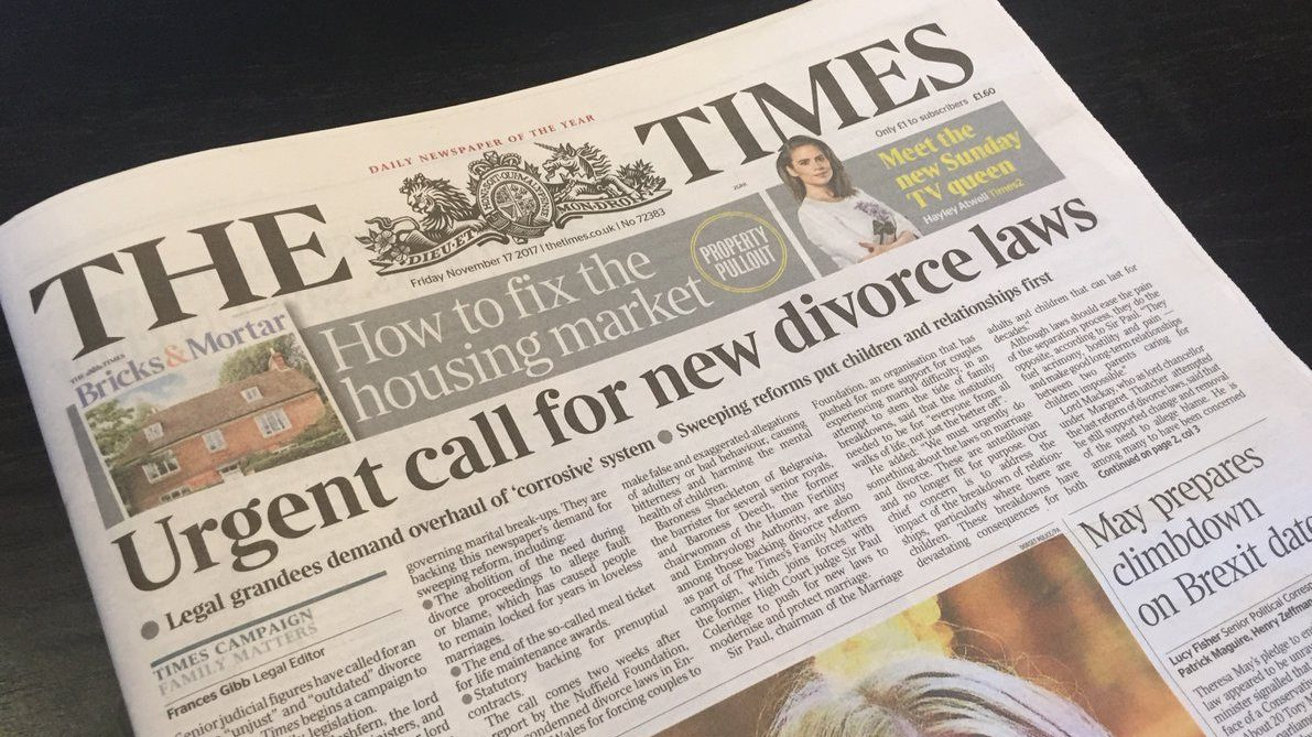 Front cover of the times newspaper with headline calling for new divorce laws