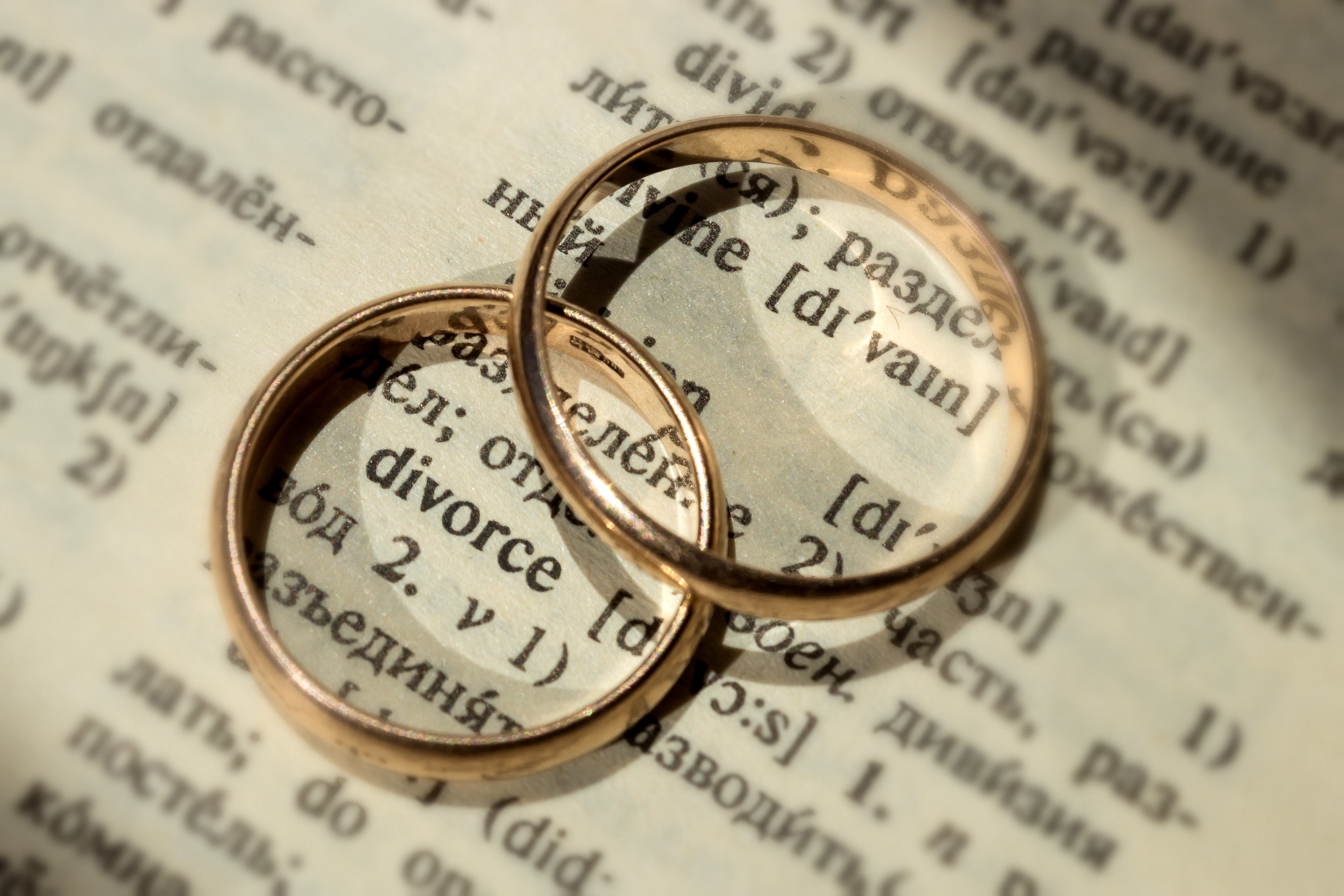 Two separate wedding rings next to the word