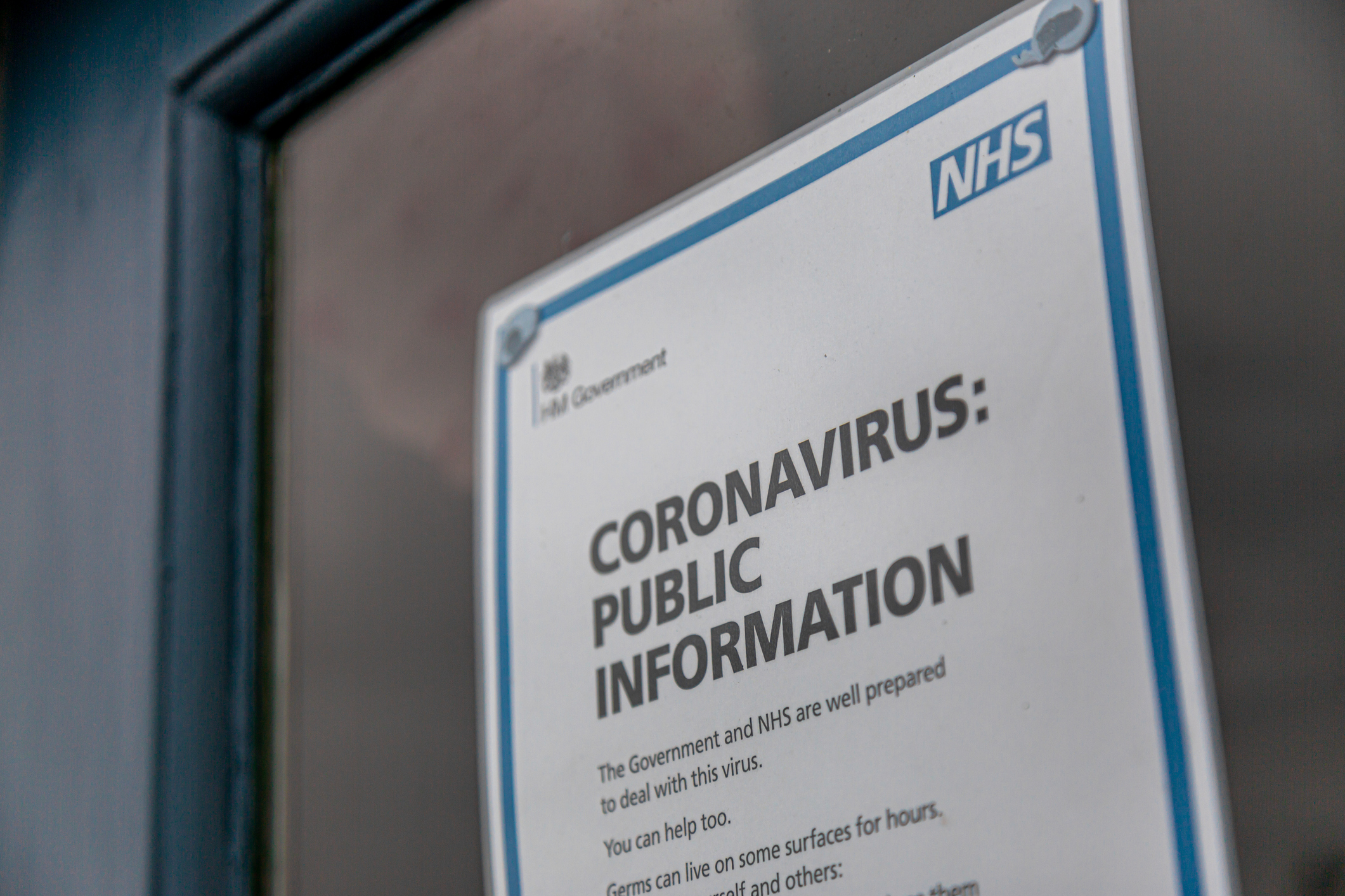 UK Public information poster from the NHS (National Health Service) with advice relating to the COVID-19 Coronavirus