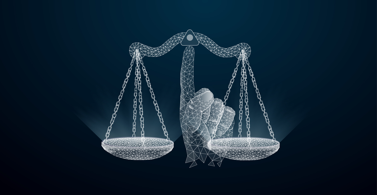 Abstract image of a Scales of justice in the form of a wireframe on the index finger, consisting of , lines, and shapes.