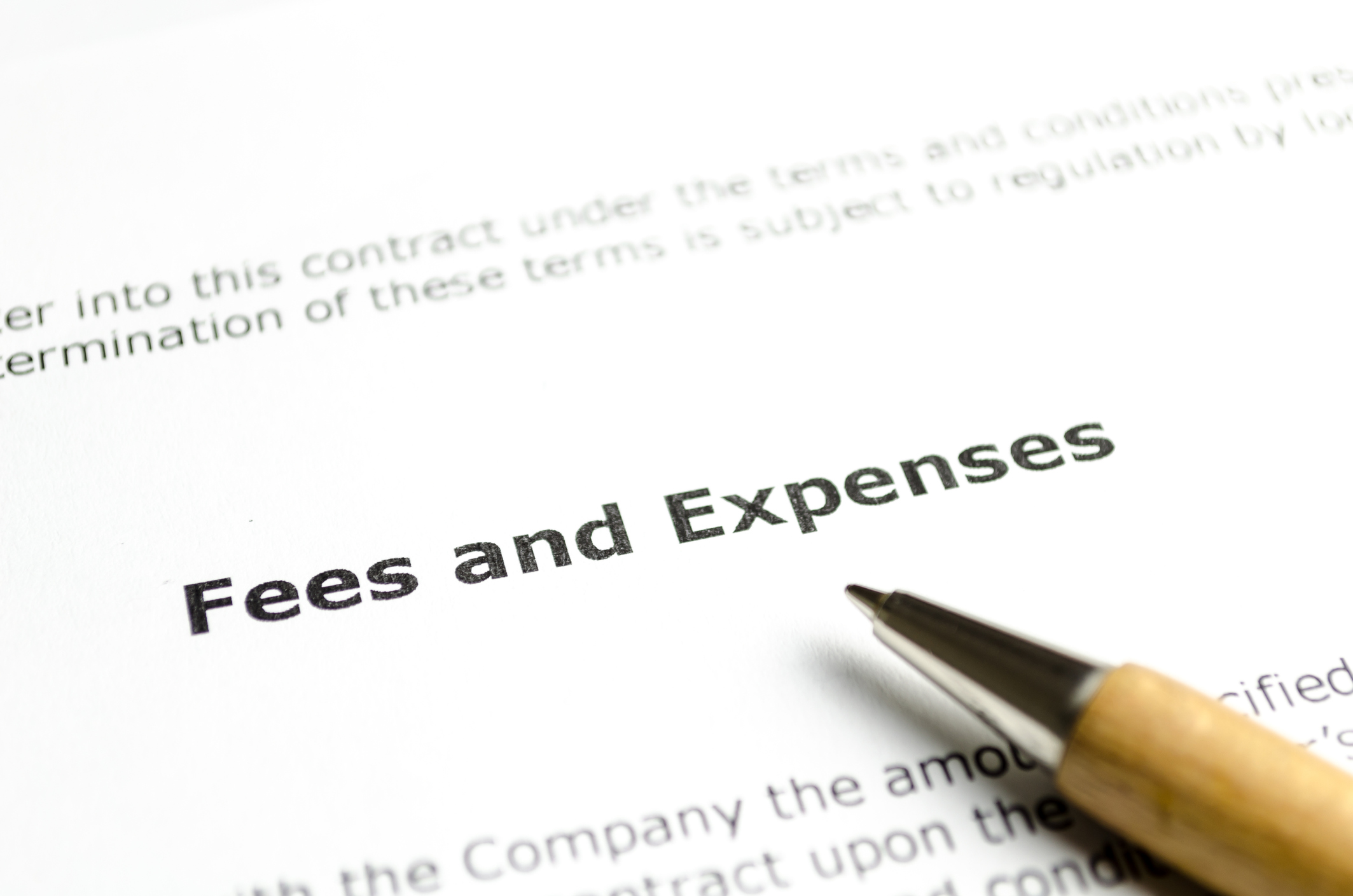 Fees and expenses with wooden pen