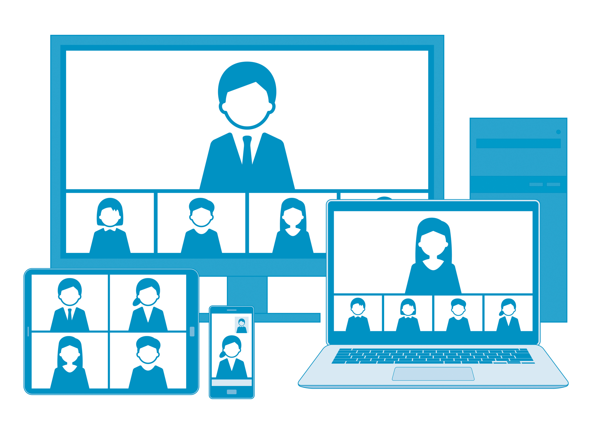 Web meeting with line illustration set,blue,with line