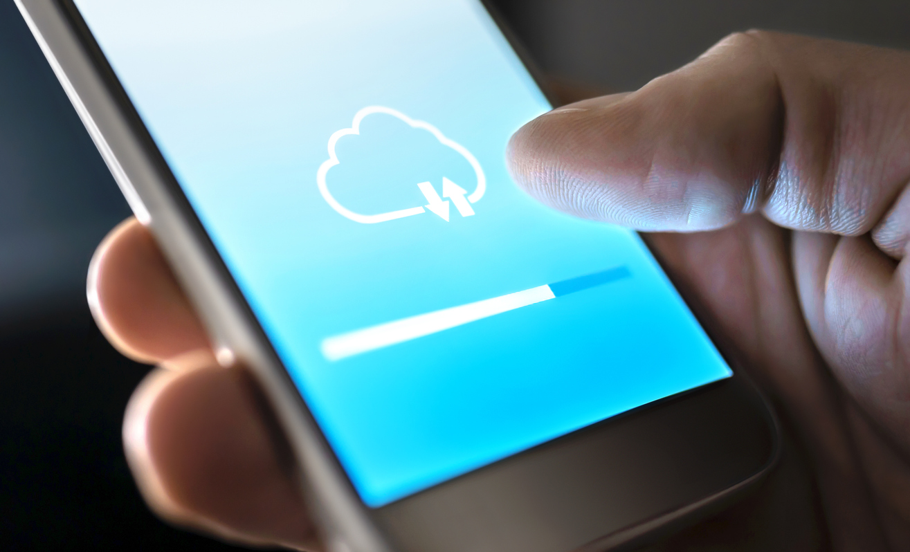 Cloud service for file storage and backup online. Data transfer in mobile phone app with modern wireless technology. Uploading, downloading or sync. Loading information to network. Computing concept.