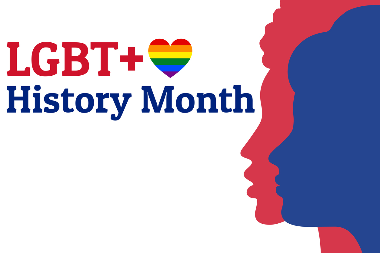 LGBT History Month. Concept of annual month-long observances with traditional rainbow colors. Template for background, banner, card, poster with text inscription. Vector EPS10 illustration