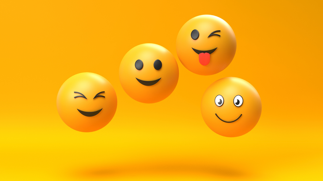 3d render of Emoji emoticon character background