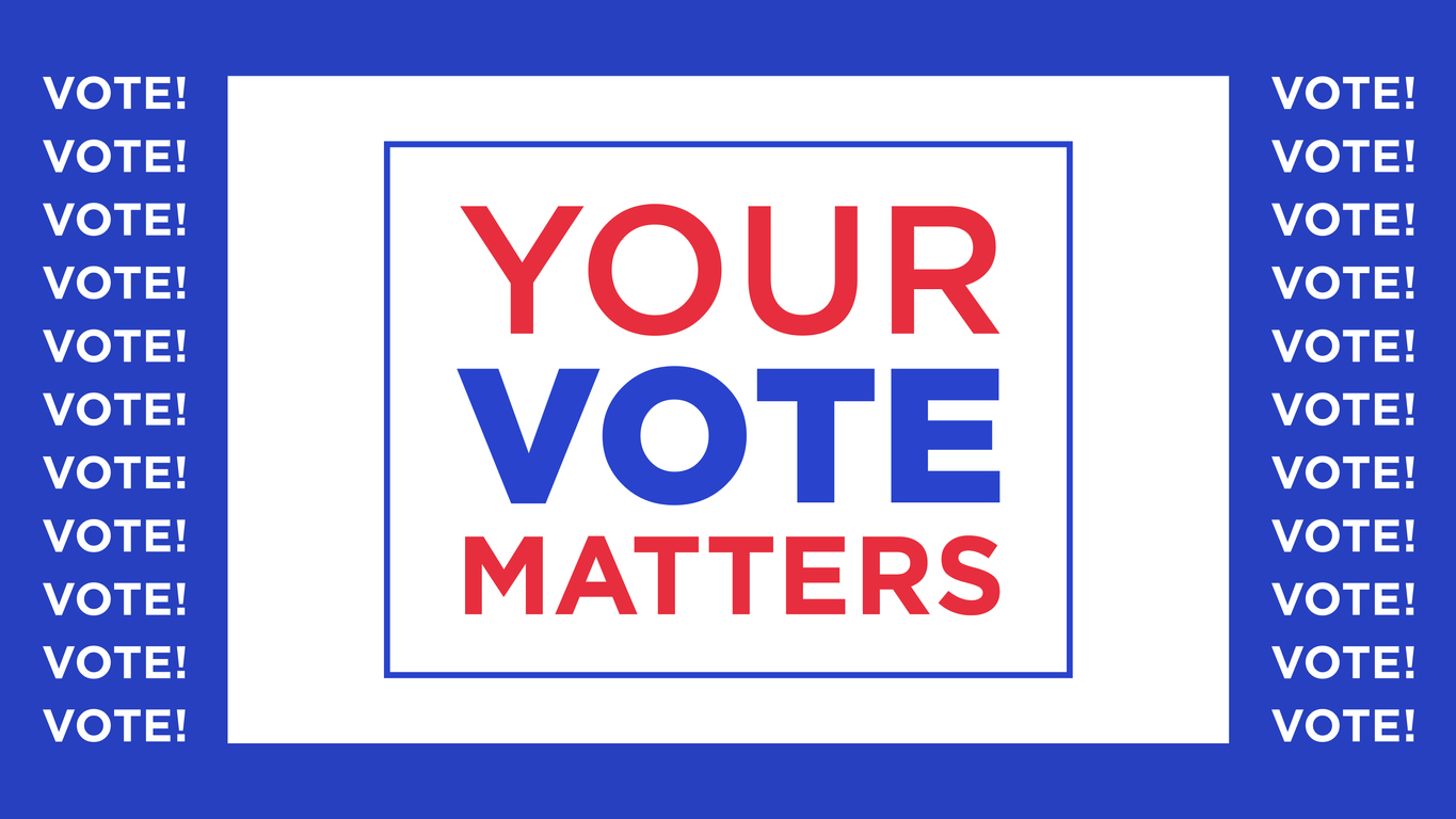Your vote matters, text appeal. Election of the President or Government, polling day in USA, political voting, referendum. Vector illustration, web banner and poster