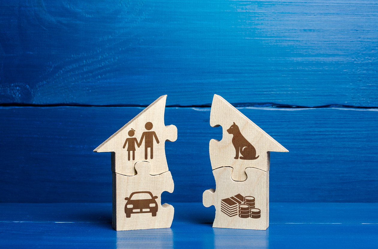 Puzzle house with family life attributes is divided in two. Concept of divorce and division of common property. Conflict resolution. Social goal. Spreading things and responsibilities between spouses.